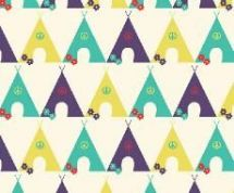 Fabric Freedom Camping - 4257 - Tents in a Row, Plum, Aqua, Yellow - FF95-1 - Cotton Fabric